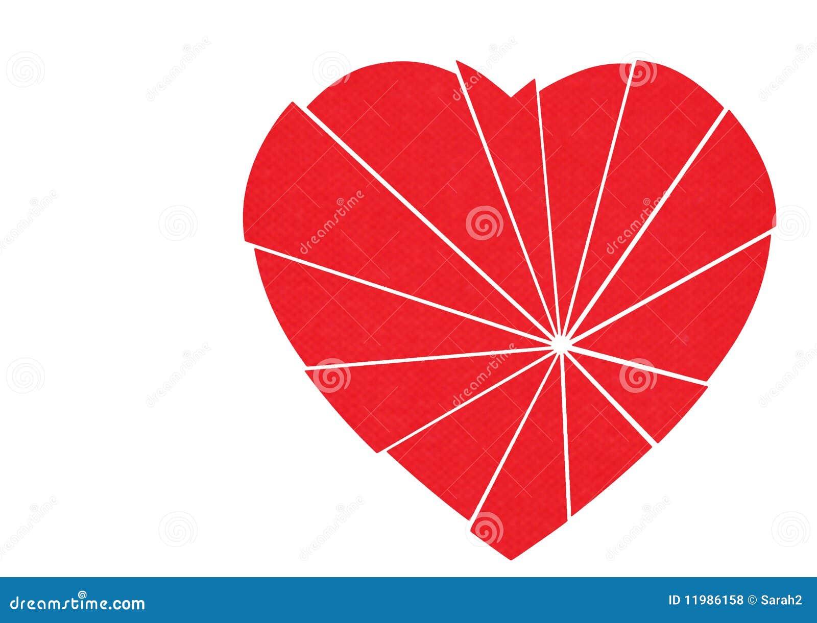 Coração vermelho quebrado a emendar - isolado no branco