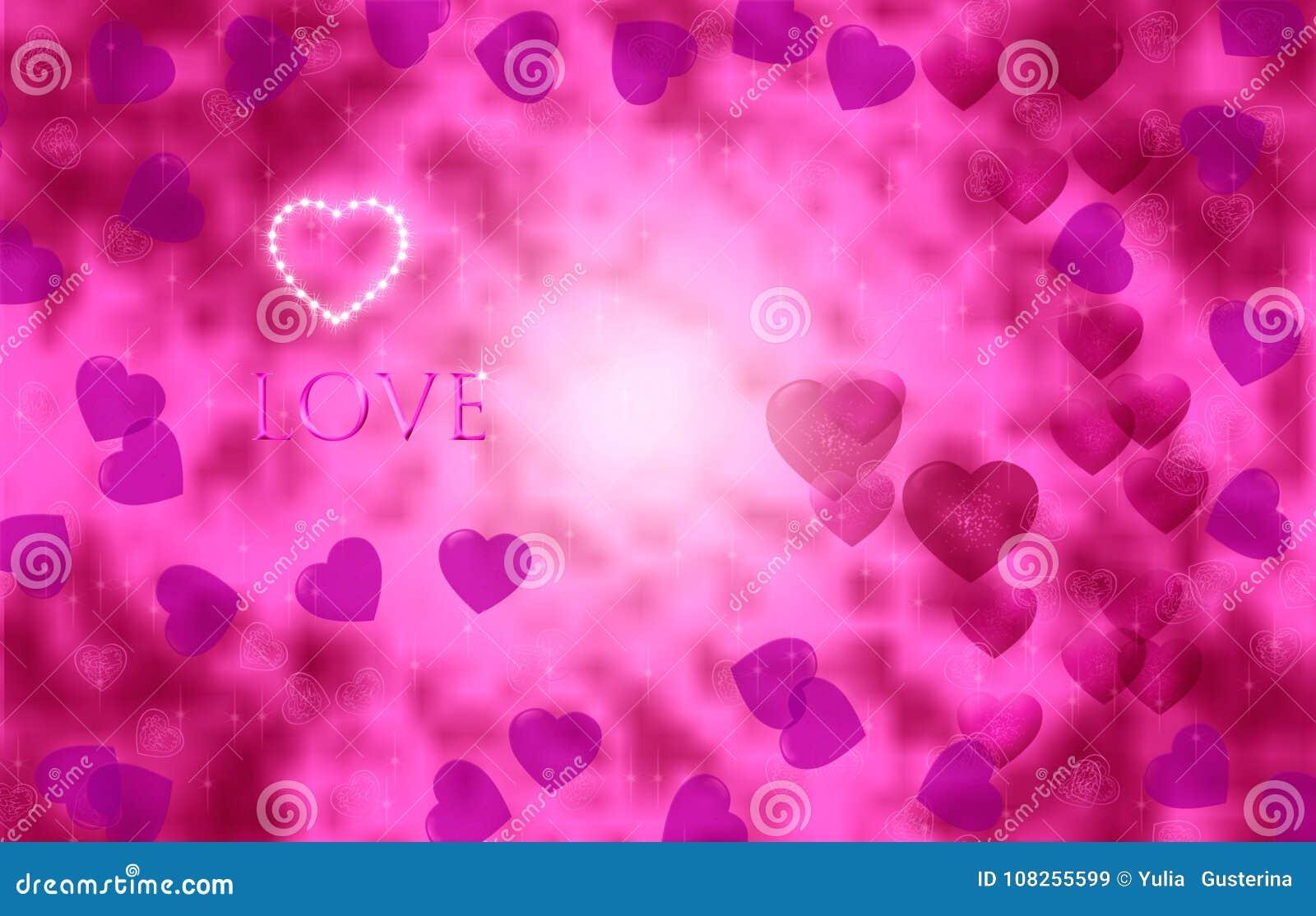 Corações brilhantemente cor-de-rosa em um fundo efervescente bonito Dia do `s do Valentim