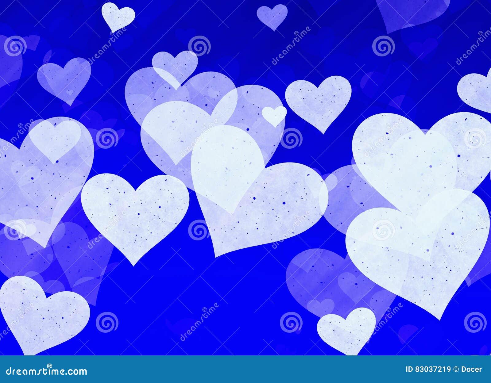Corações claros sonhadores no fundo azul