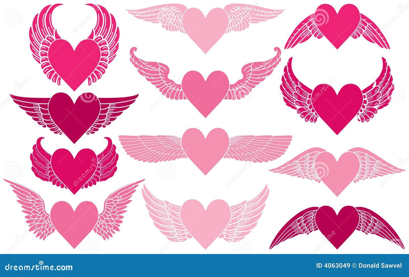 Corações com asas
