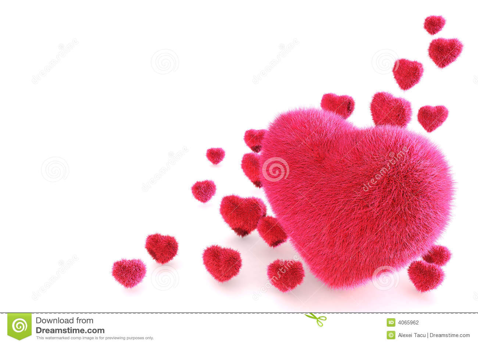 Corações cor-de-rosa da pele 3D