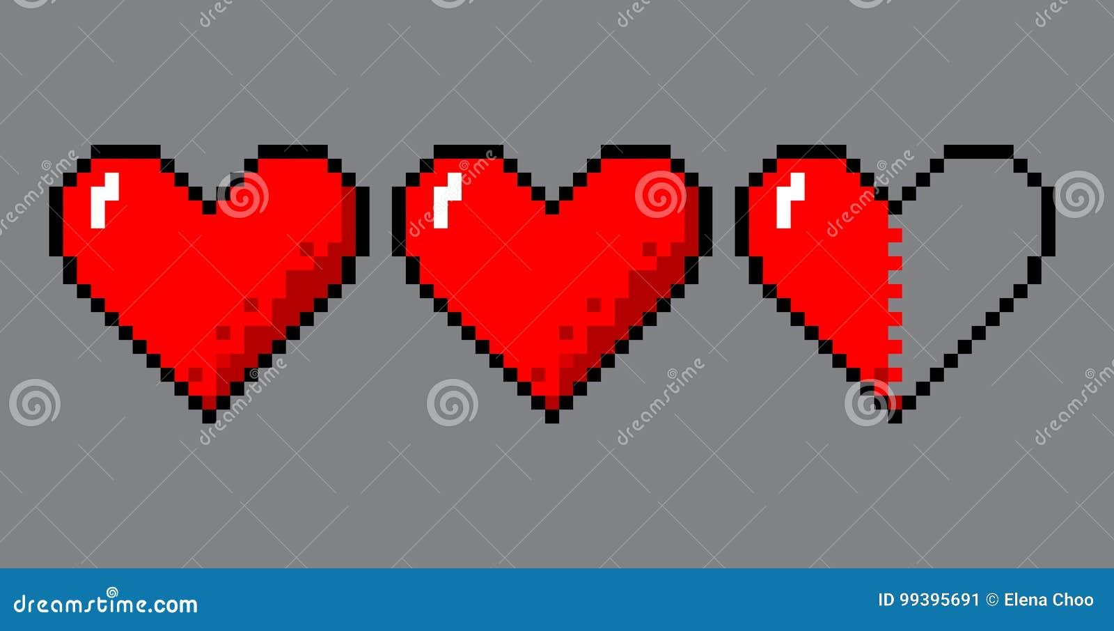 Corações da arte do pixel para o jogo