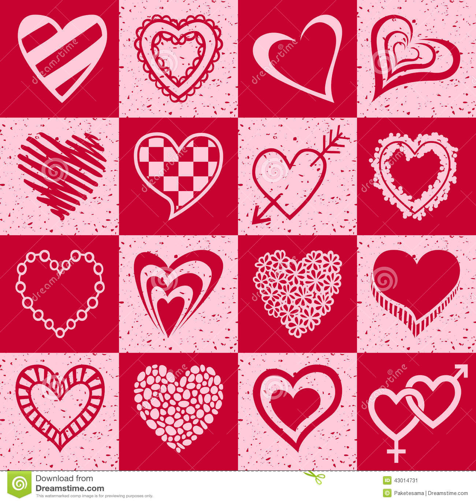 Corações desenhados mão ajustados
