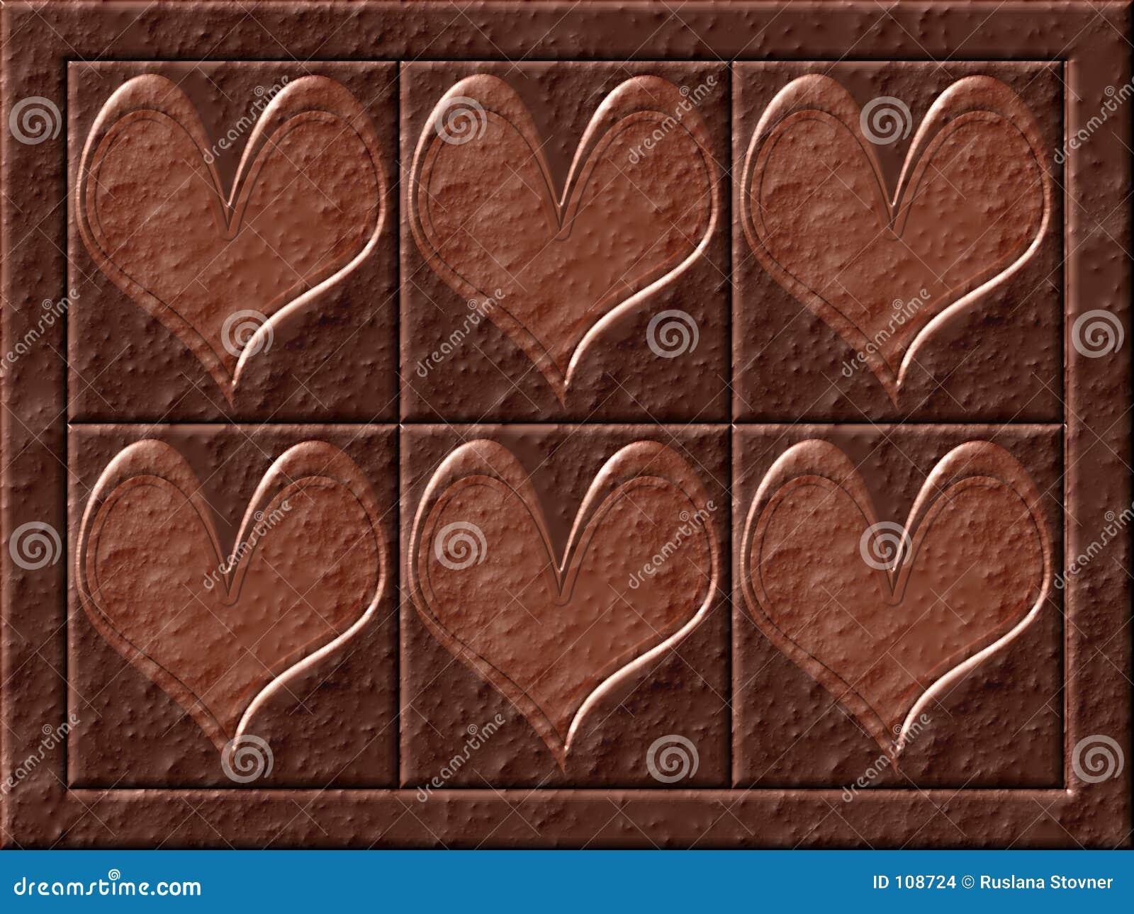 Corações do chocolate