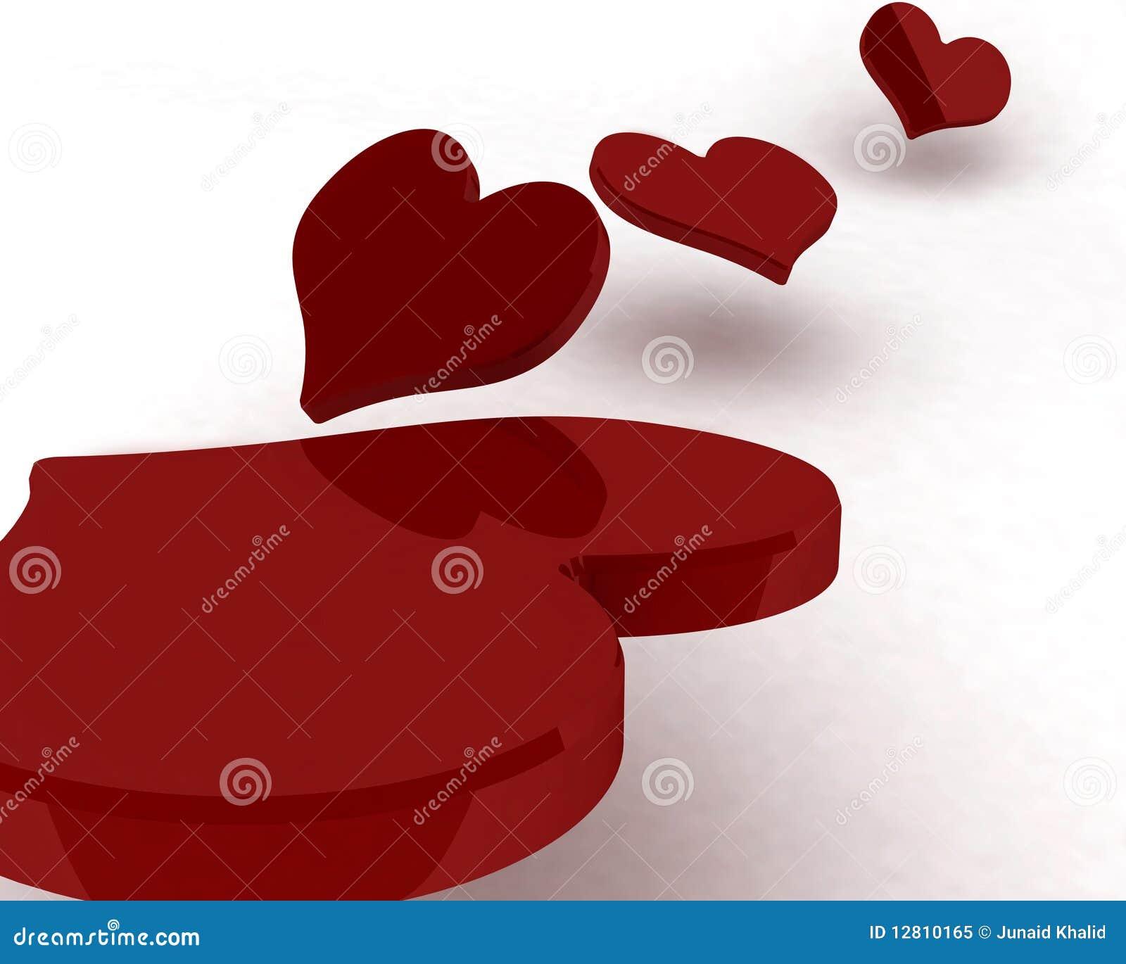 Corações do vermelho 3d