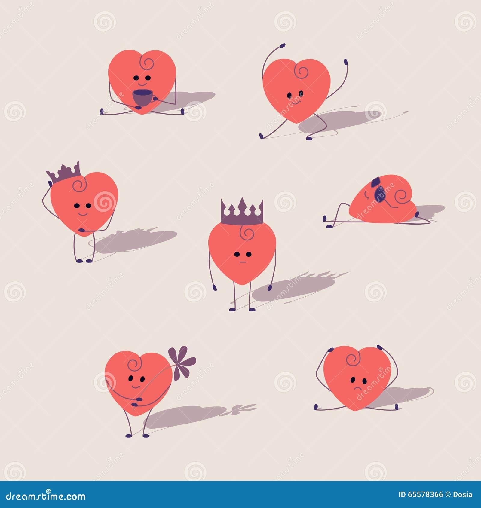 Corações dos desenhos animados ajustados