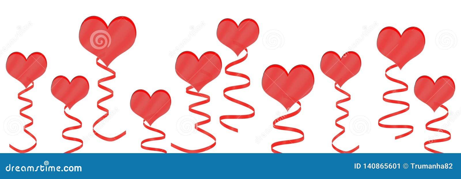Corações e fitas vermelhos no fundo branco