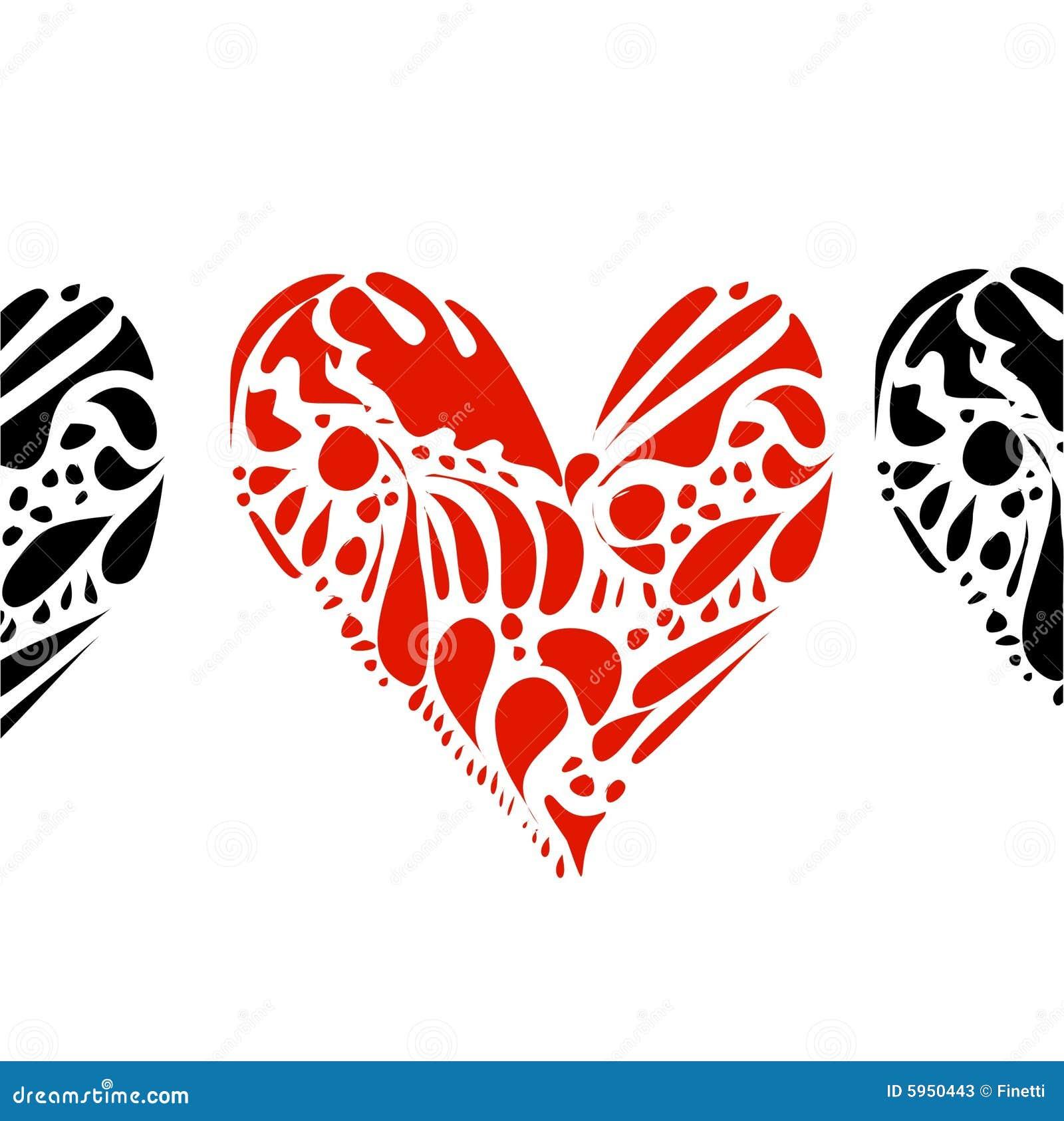 Corações no branco