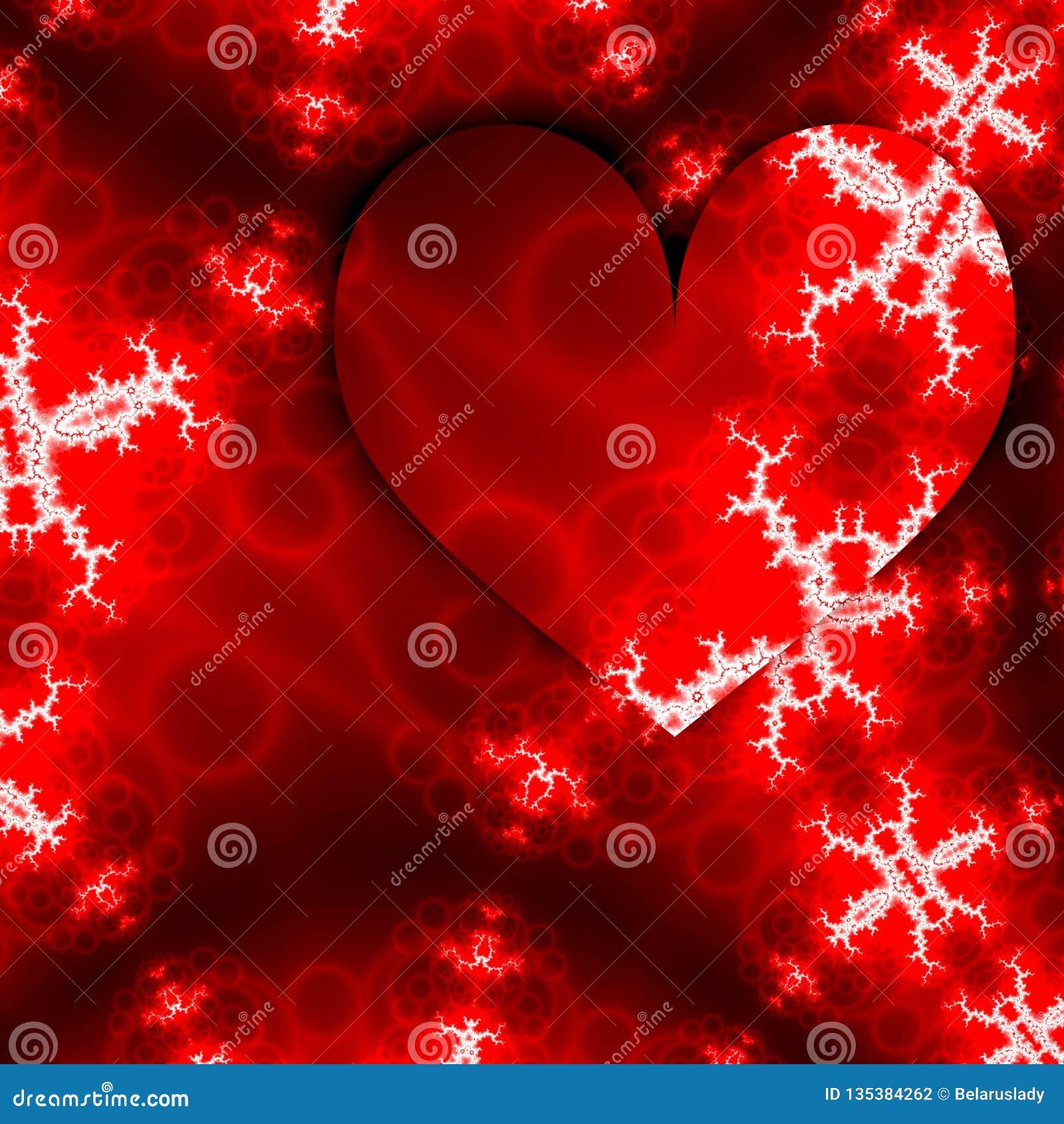 Corações para o projeto da celebração Cartão feliz do dia de Valentim do amor com quadro vermelho dos corações e fractals brancos