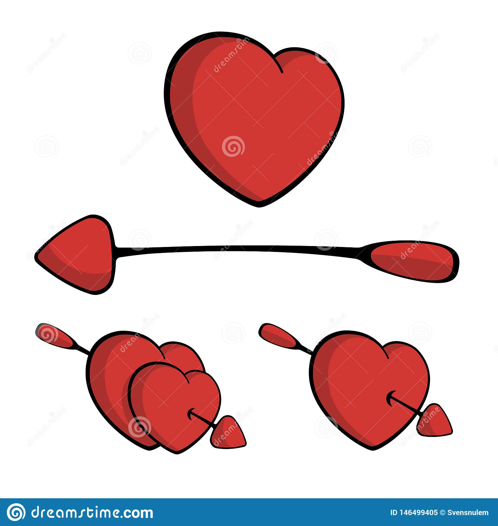 Corações perfurados com a seta, caindo no vetor do amor