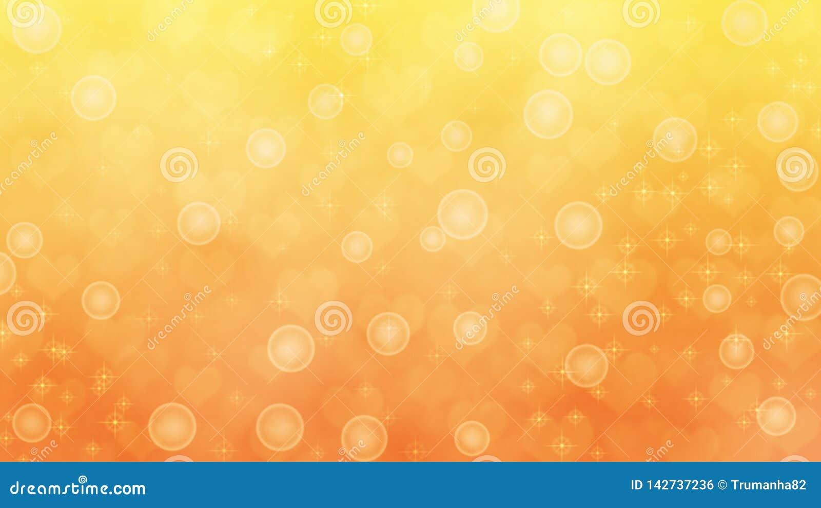Corações, Sparkles e bolhas borrados abstratos no fundo amarelo e alaranjado