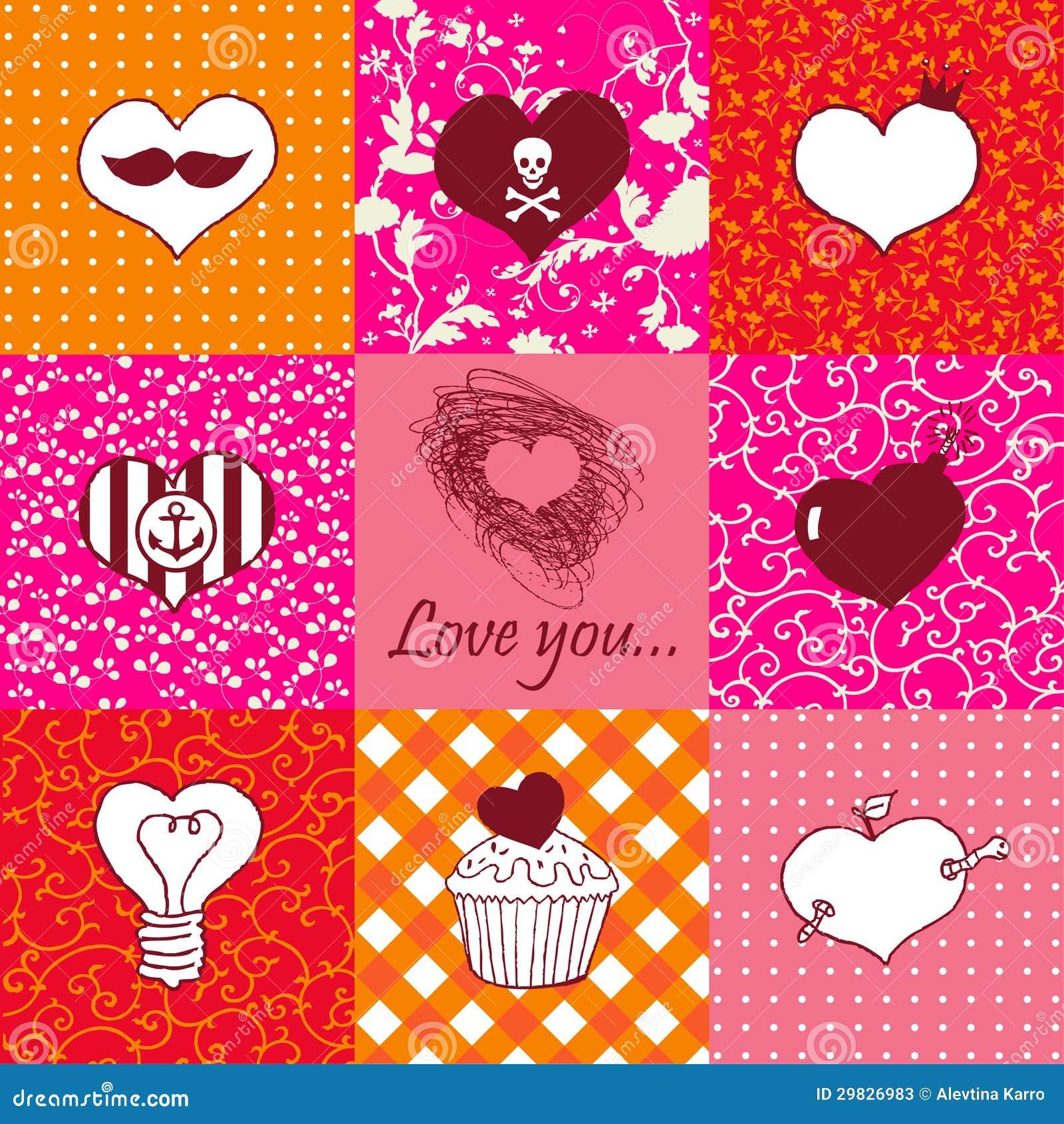 Grupo à moda de nove corações tirados mão