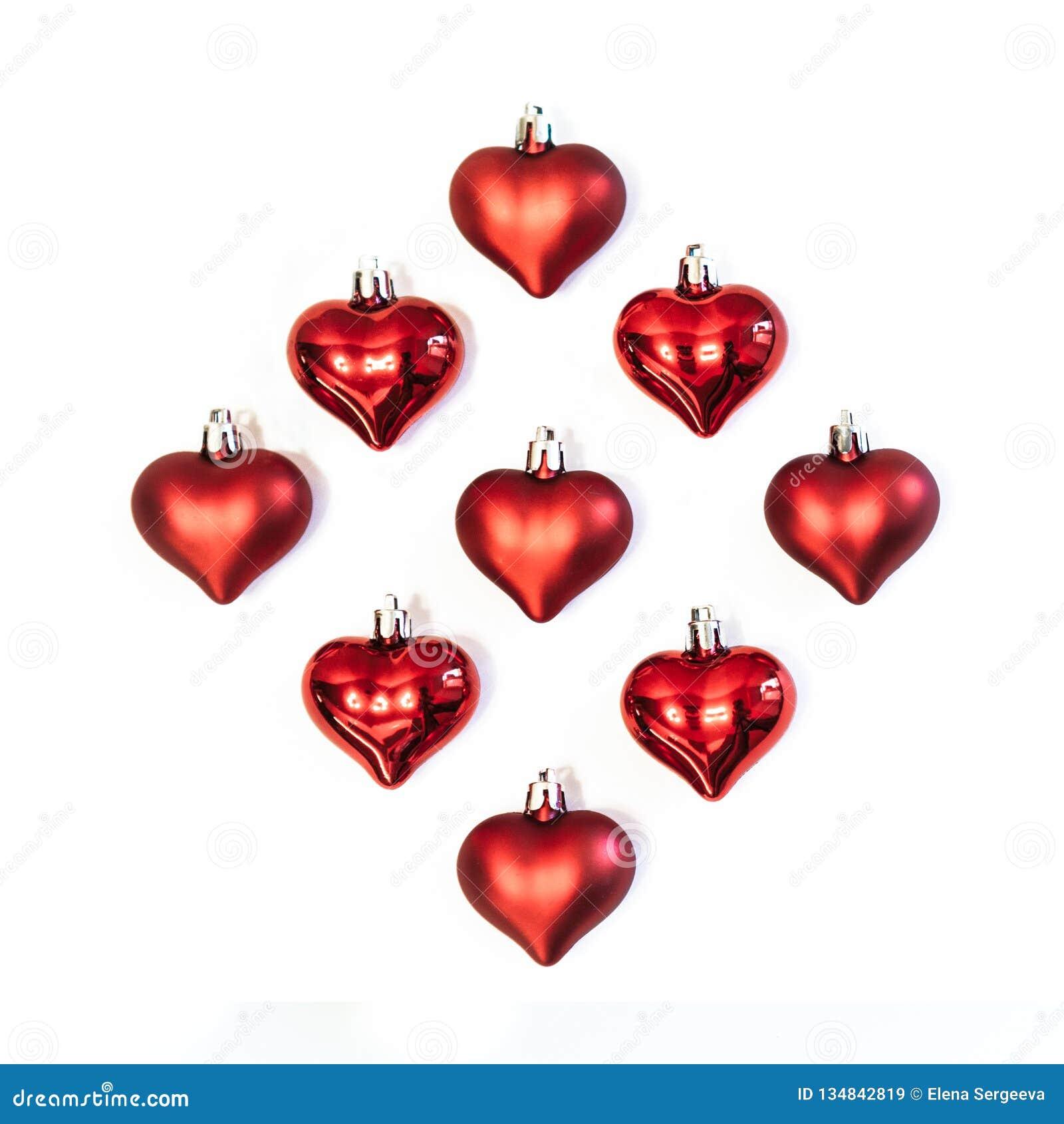 Corações vermelhos, decorações