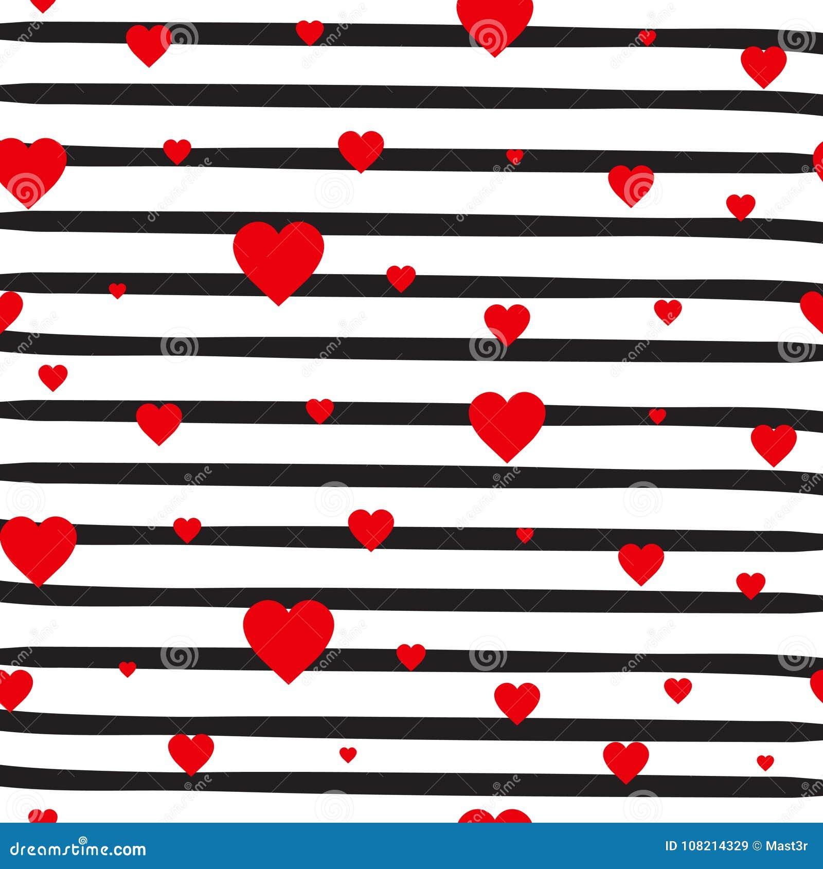 Corações vermelhos do teste padrão sem emenda retro em fundo branco listrado Valentine Day Ornament