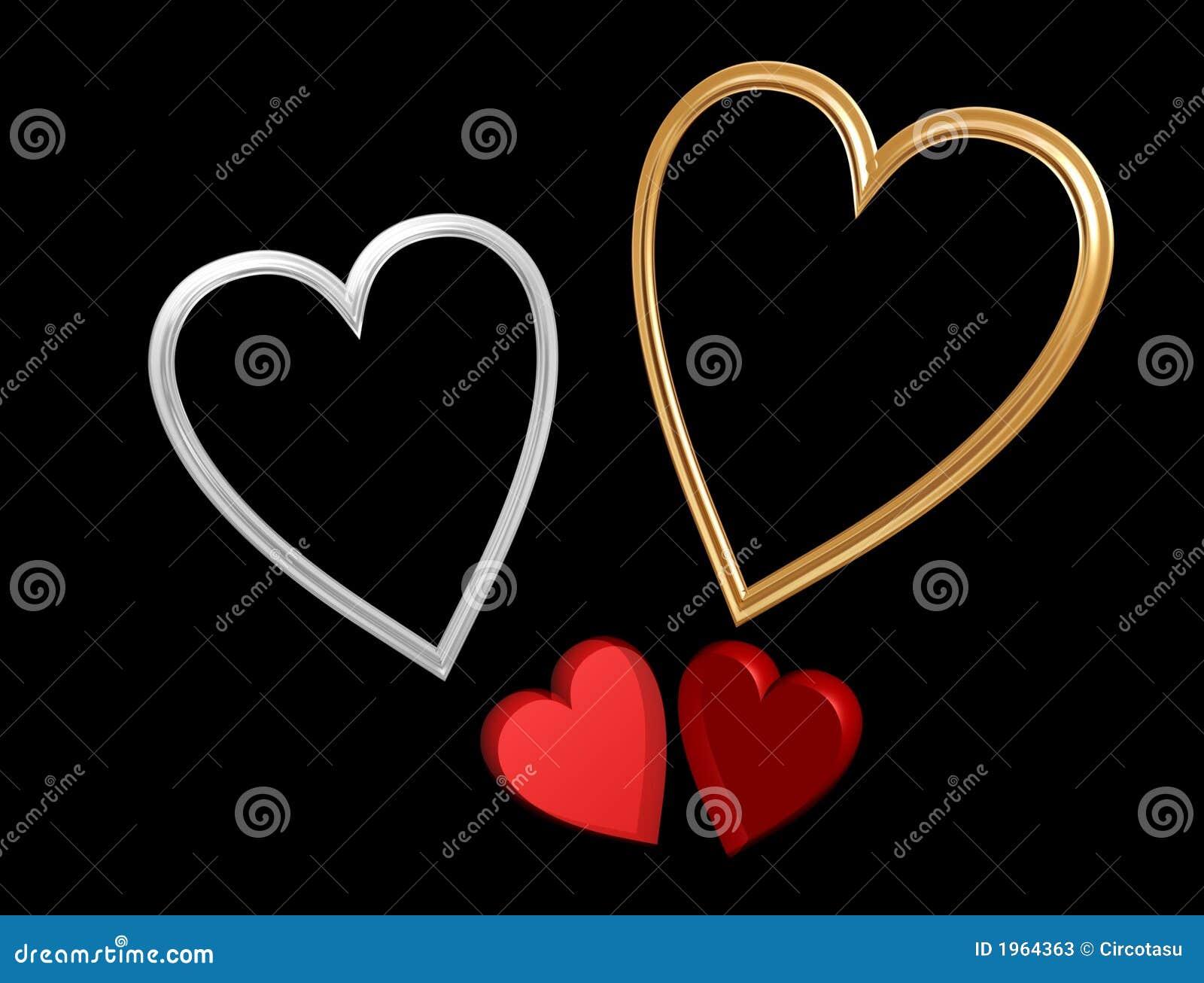 Corações vermelhos do Valentim com frames do coração