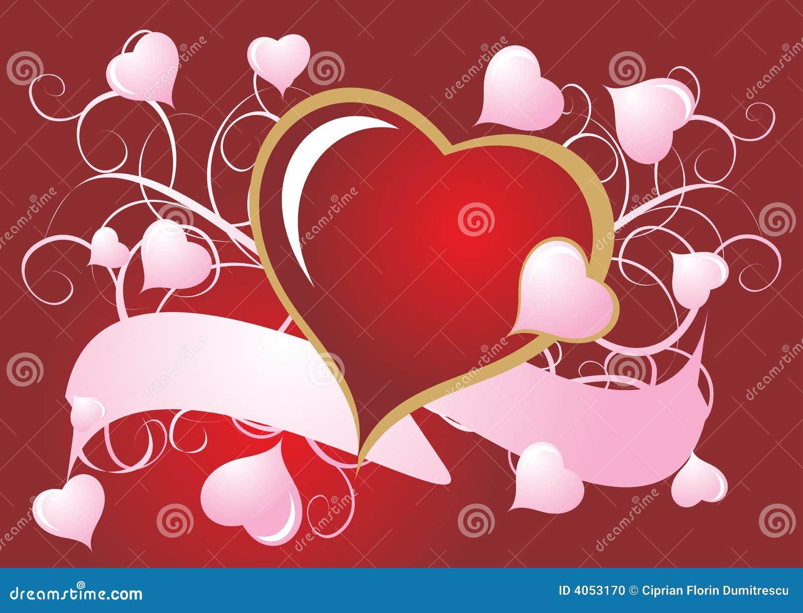Corações vermelhos e cor-de-rosa