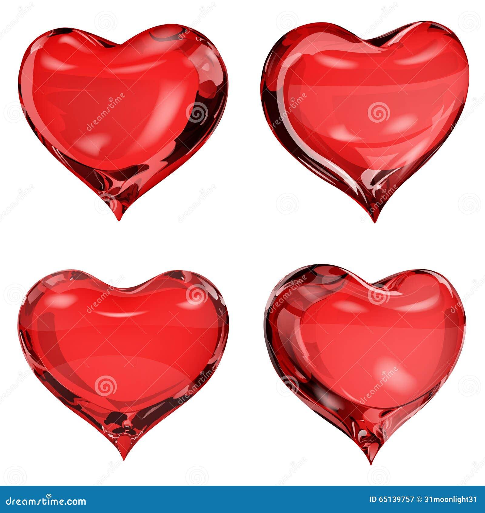 Corações vermelhos opacos