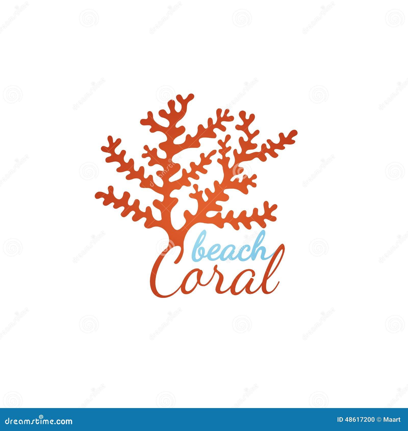 coral beach logo template stock vector image 48617200
