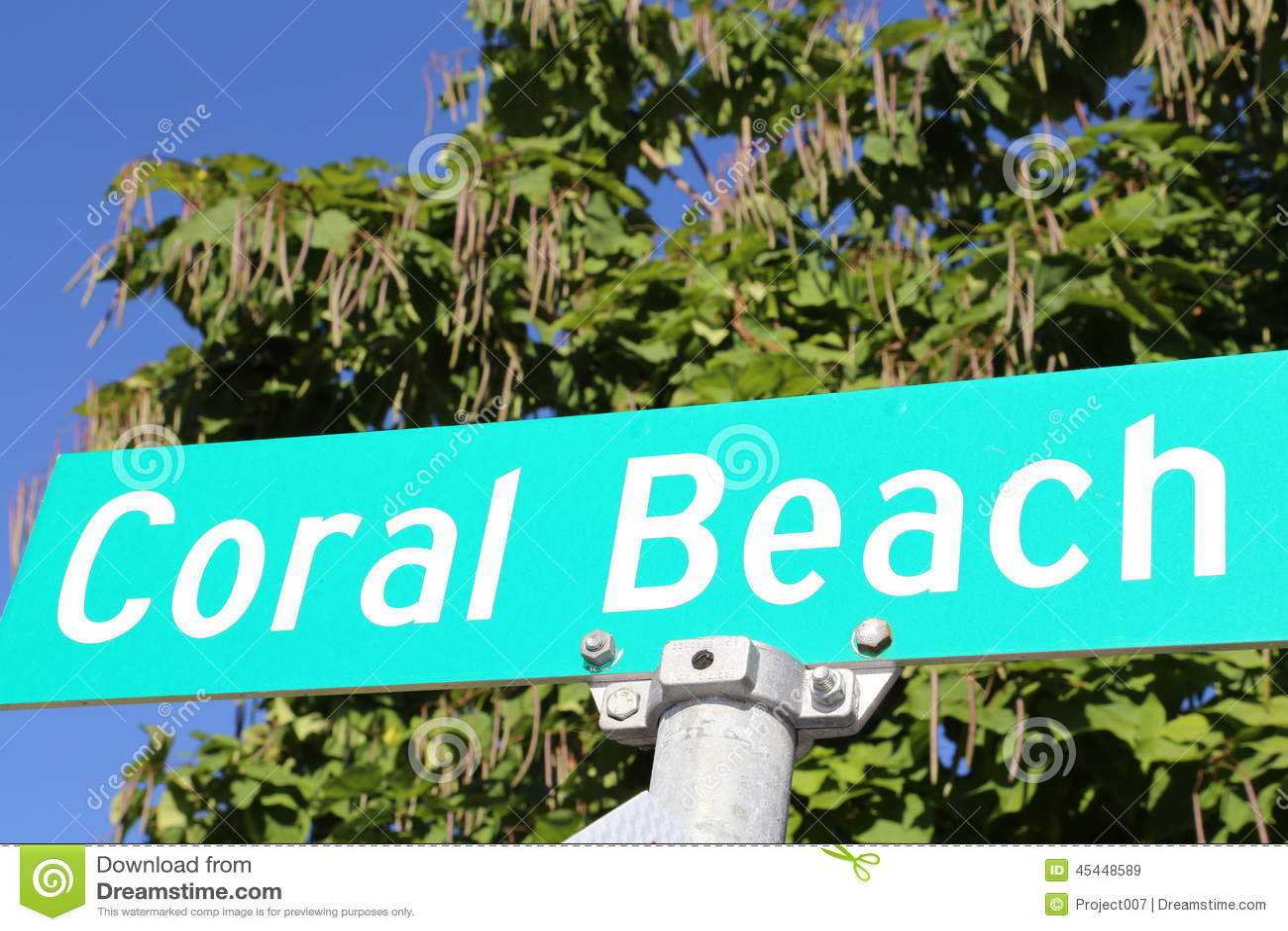 Coral Beach Resort Street Sign Stock Photo