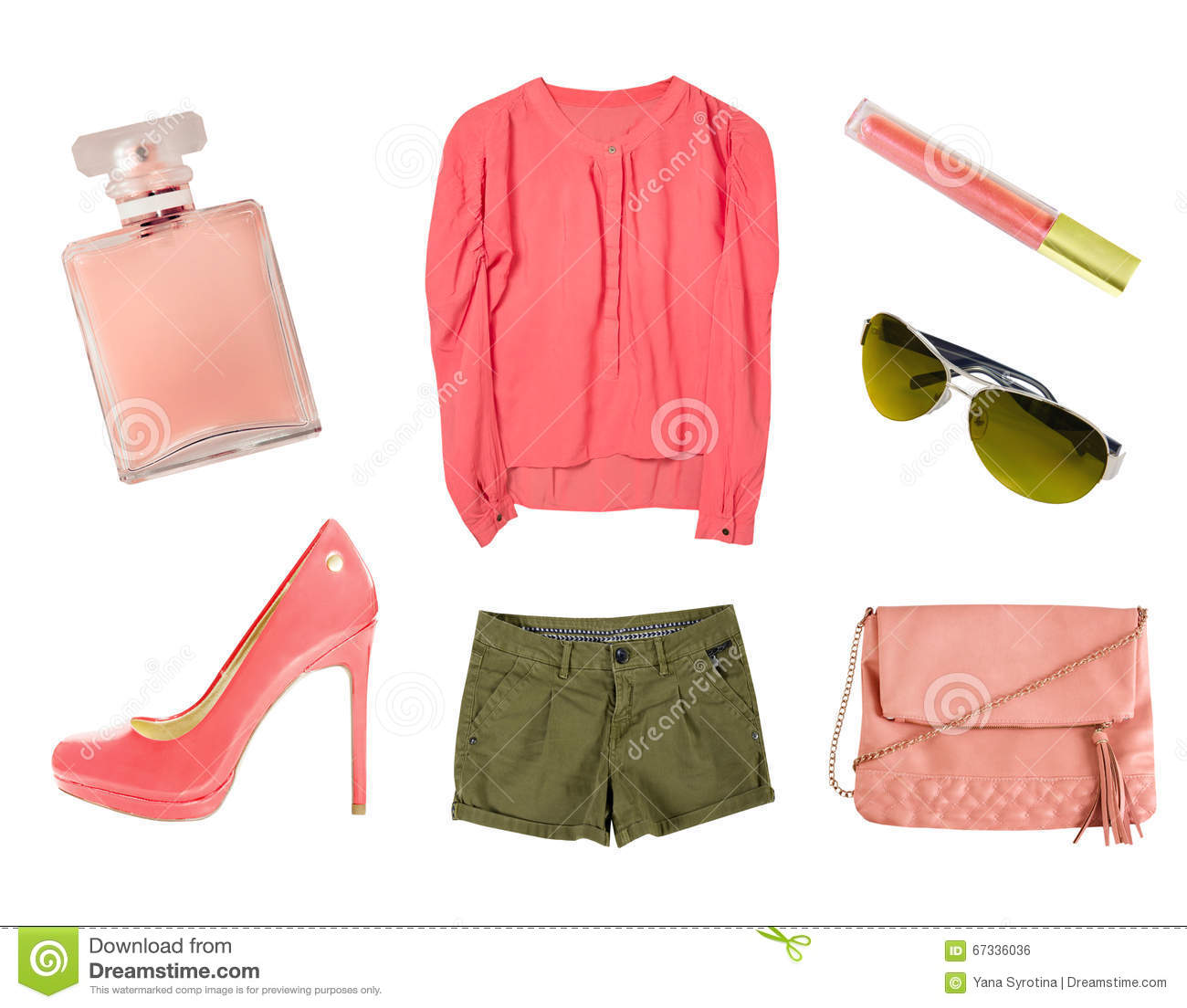 Coral Female Women Clothes Set Collage Isolated Stock Photo Image