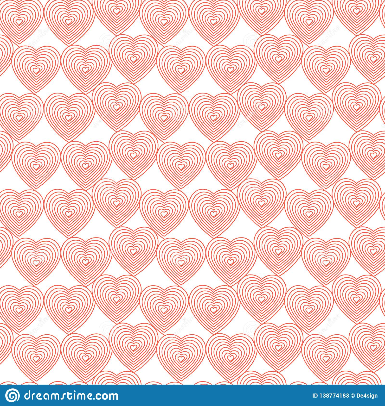 Coral hearts on the white background. Hearts in abstract linear style_Vector seamless pattern.