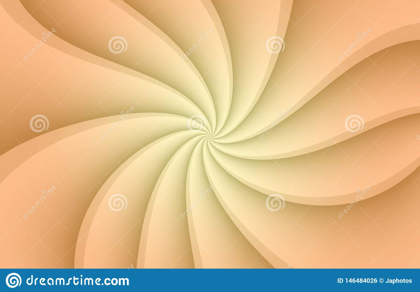 Coral peach and white spinning spiral curves abstract wallpaper background illustration.