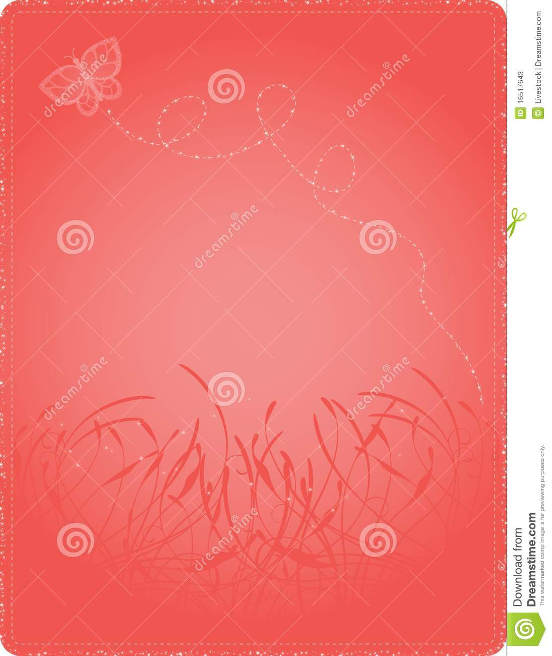 Glittering butterfly floating on a coral pink floral background; file ...