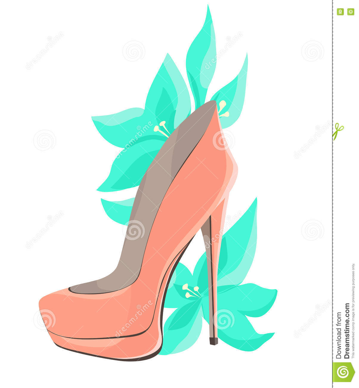 Coral Pink High Heeled Shoes With Mint Flowers Stock Vector