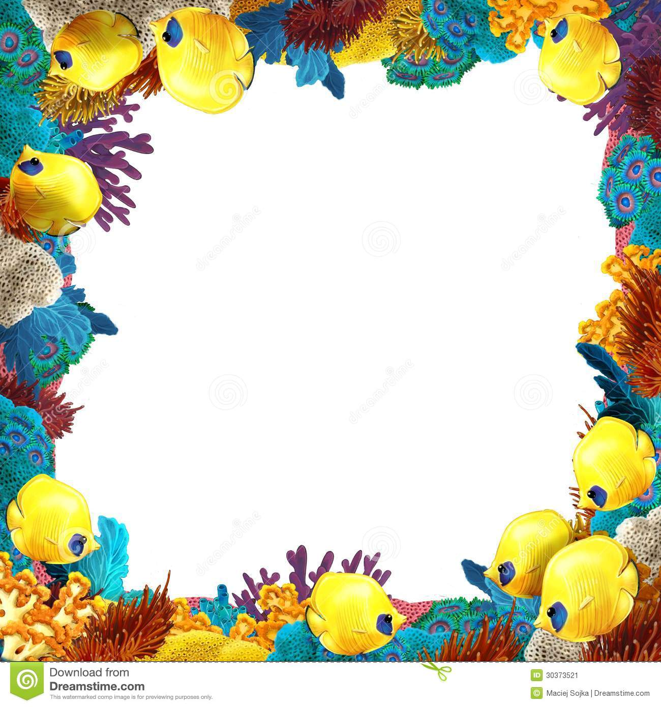 Border Template With Coral Reef Underwater Stock Vector ...