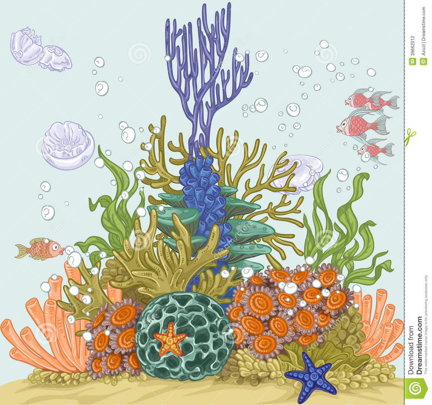 Coral Reef Illustration Stock Vector. Illustration Of
