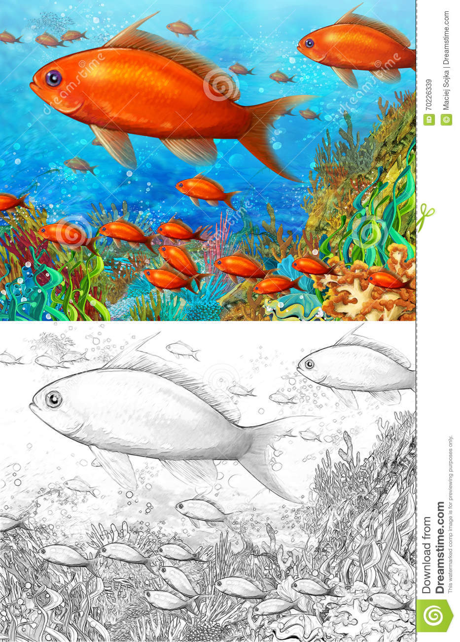 coral reef small colorful coral fishes coloring page happy illustration children