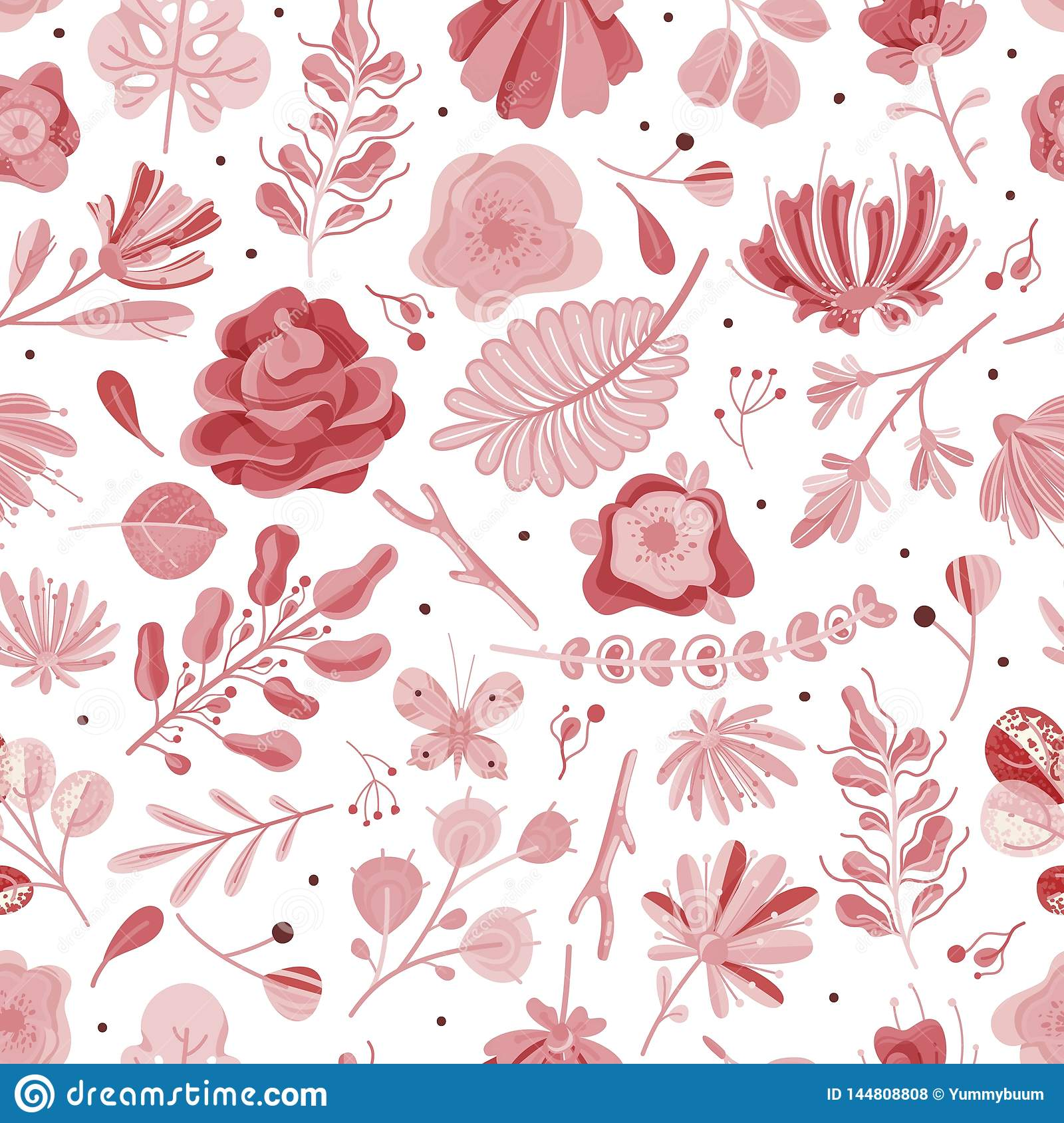 Coral Seamless Pattern Floral Spring Summer Garden Colorful