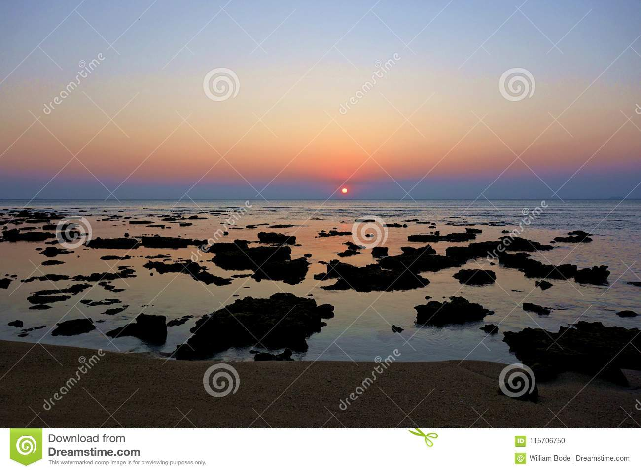 Coral Showing at Low Tide at Sunset
