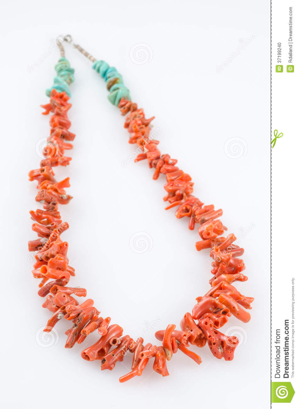 coral and turquoise necklace stock photo image of handcrafted
