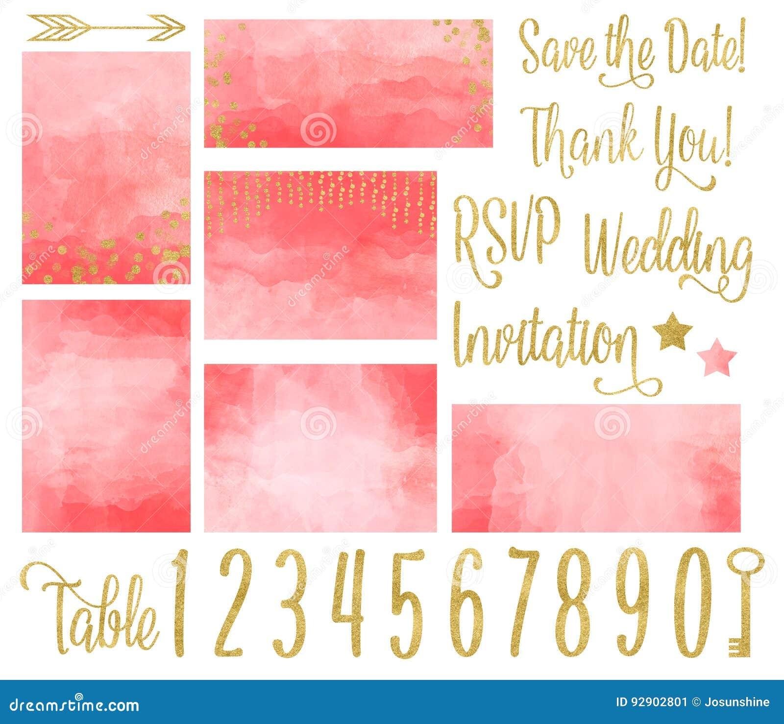 Coral Wedding Invitation Watercolor Set Stock Illustration