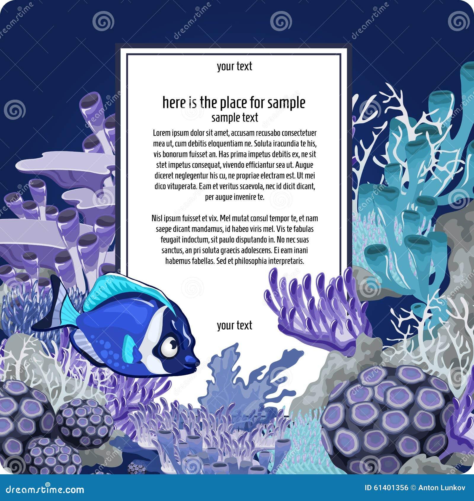 Corales y pescados con la tarjeta vertical para el texto
