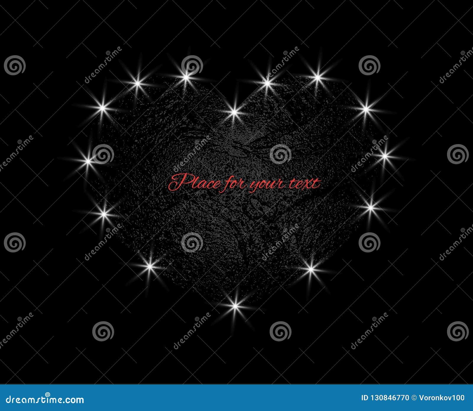 Corazón abstracto con la textura ligera de la luna Elemento del diseño del vector aislado en fondo oscuro