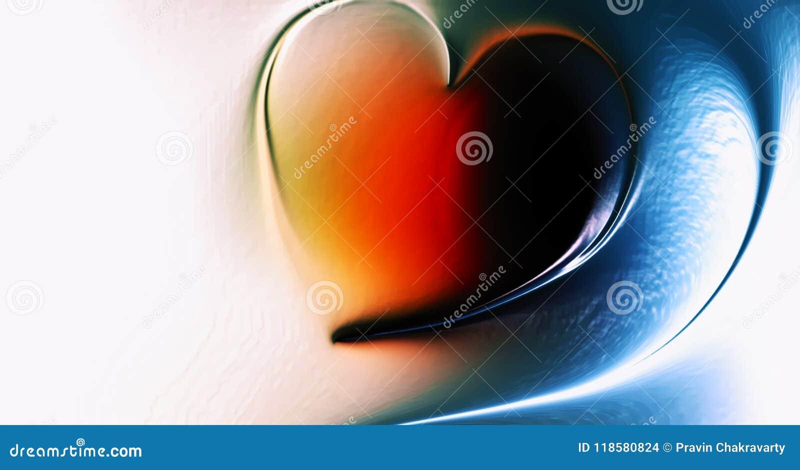 Corazón abstracto del vector con el fondo ondulado sombreado multicolor con el efecto luminoso y la textura, ejemplo del vector