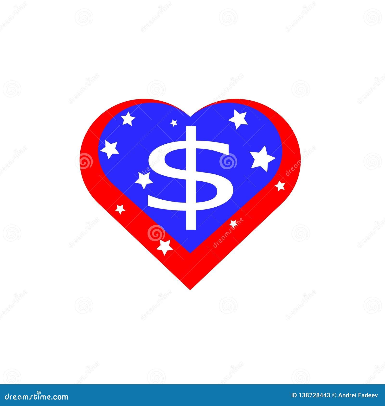 Corazón americano, vector bajo la forma de bandera de los Estados Unidos de América