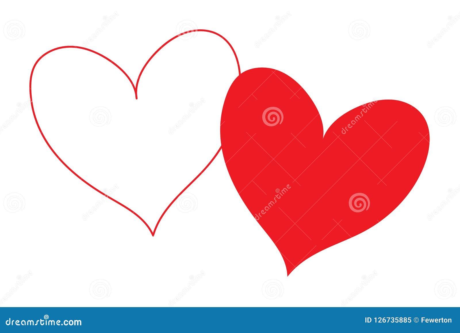 Corazón blanco con contorno rojo del esquema y corazón rojo del terraplén que coincide y aislado en parte en un fondo transparent