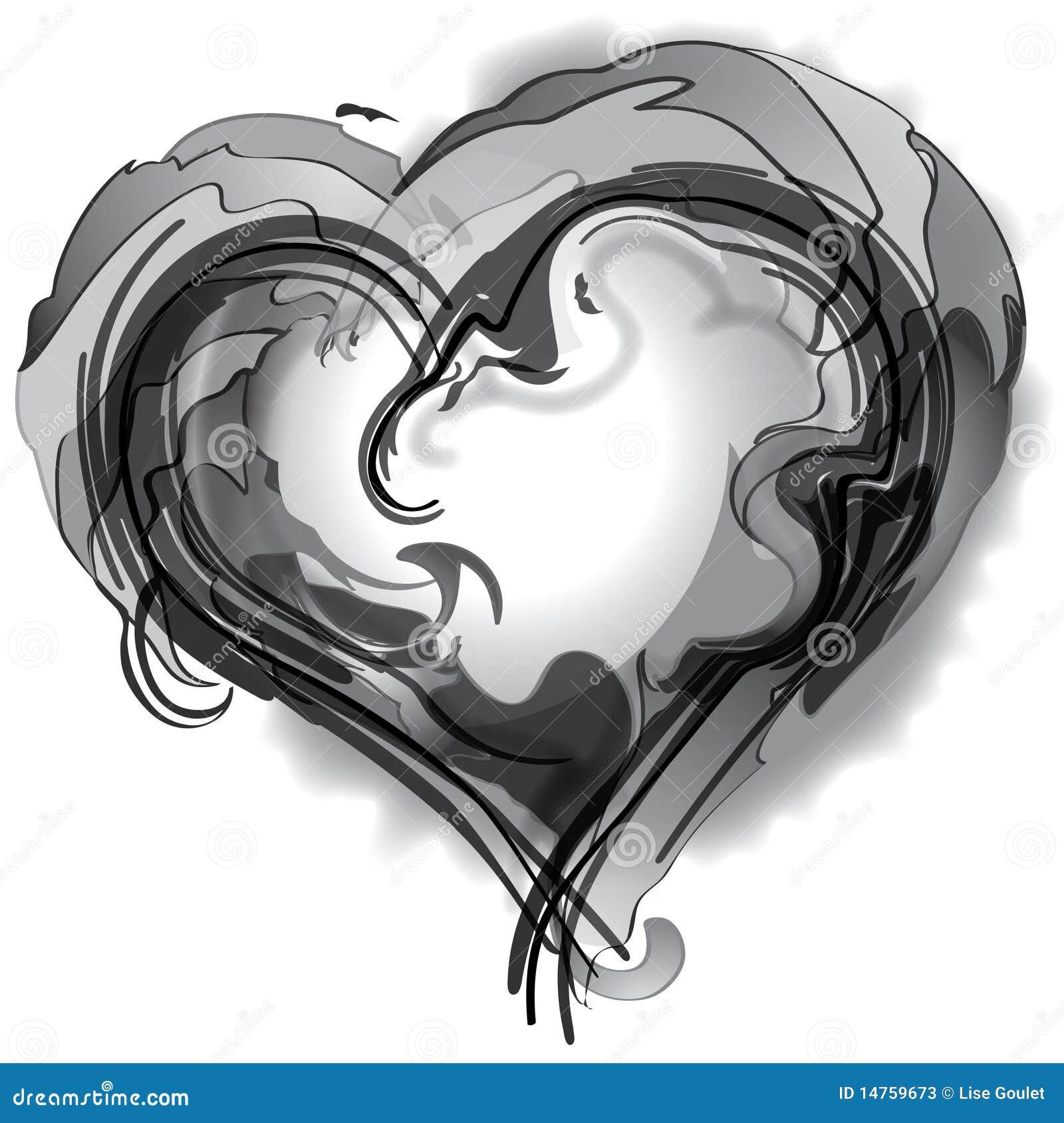 Corazón Blanco Y Negro Ilustración Del Vector Ilustración De Lente
