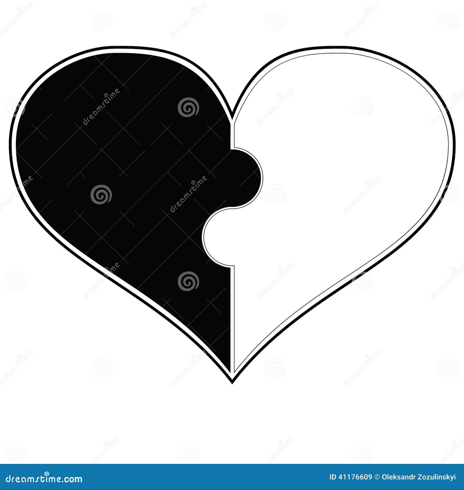 Corazón Blanco Y Negro 1 Stock De Ilustración Ilustración De