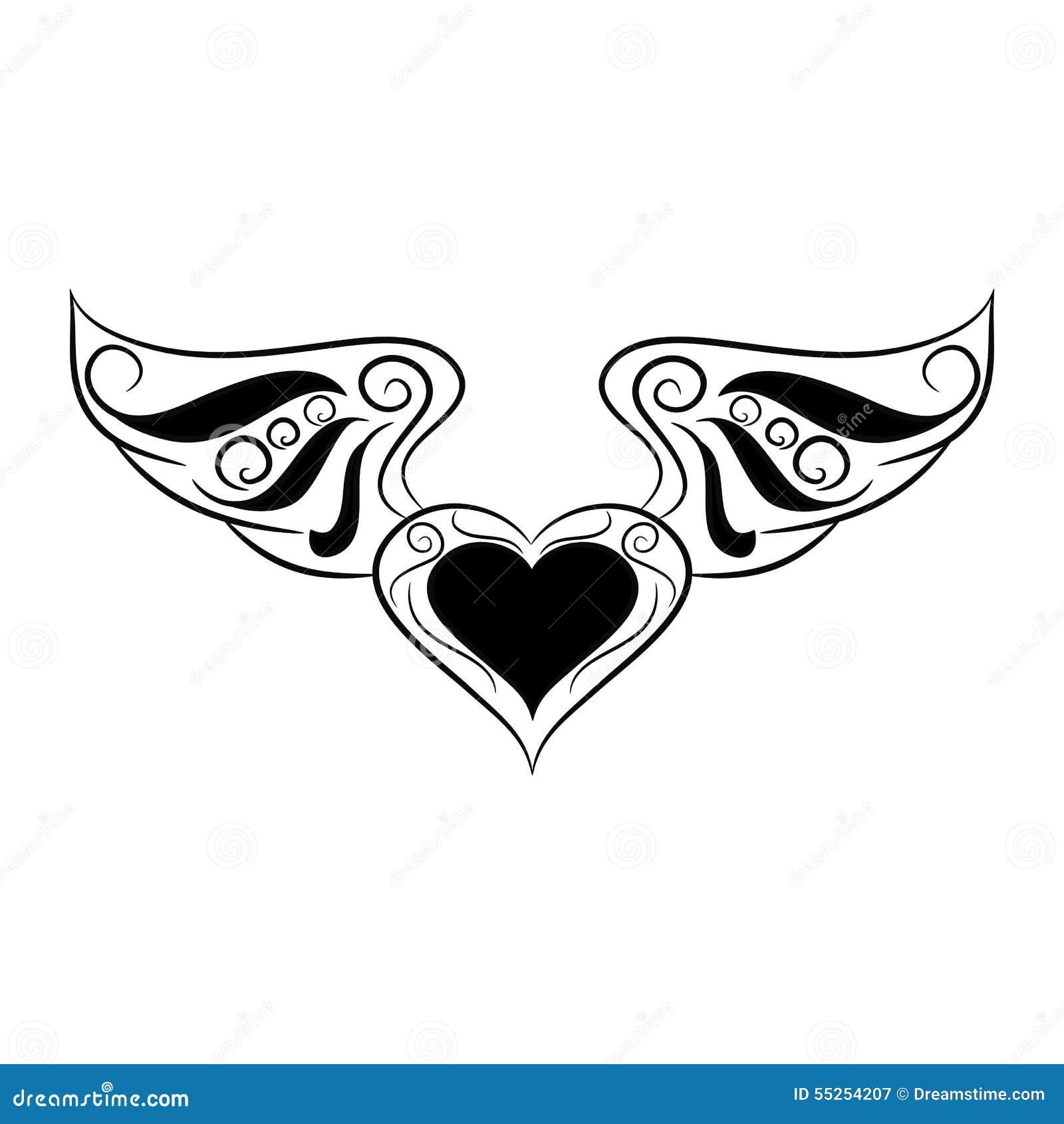 Corazón Blanco Y Negro Con Las Alas En El Fondo Blanco Ilustración