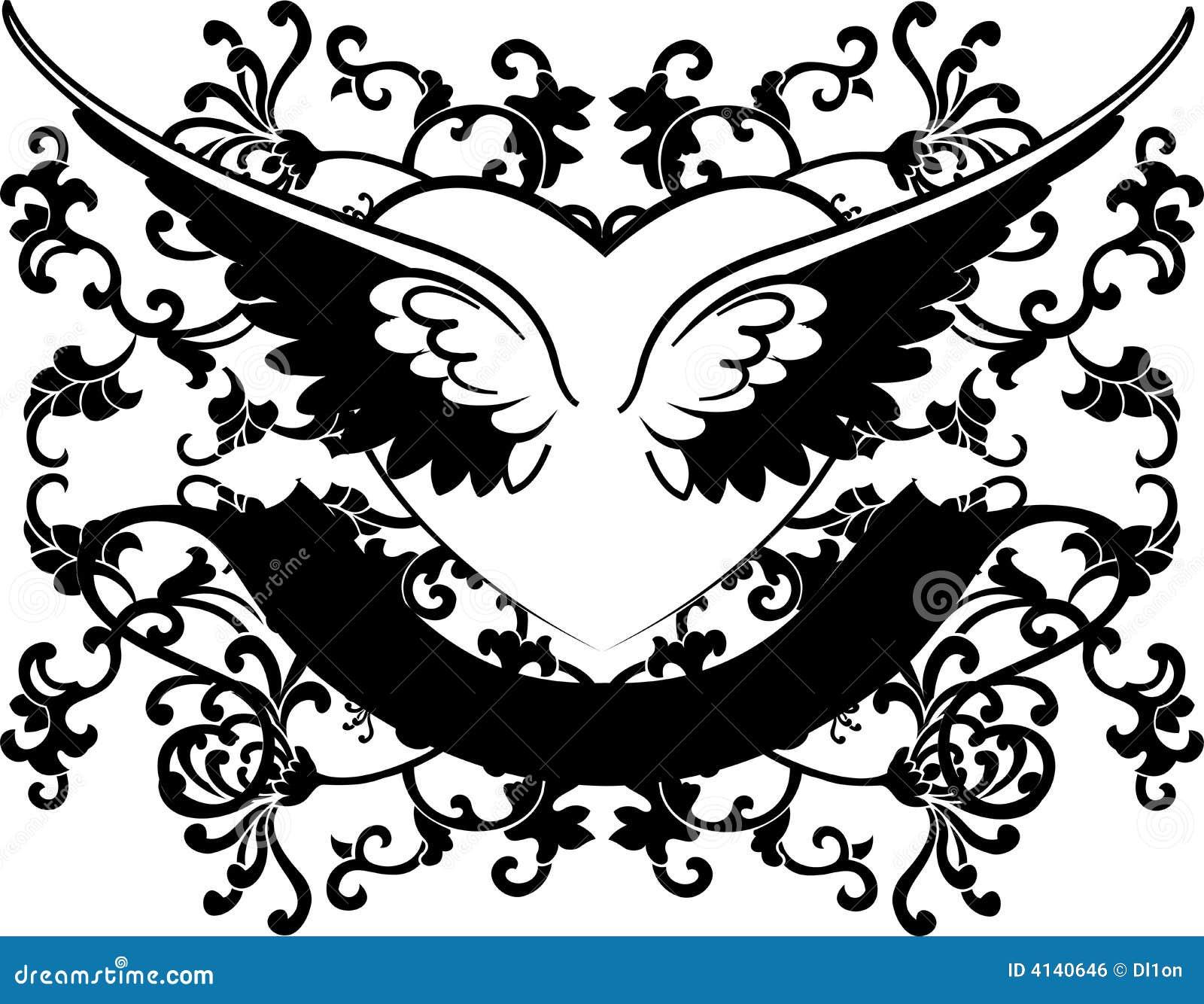 Corazón Blanco Y Negro De Las Alas En Fondo De Las Curvas