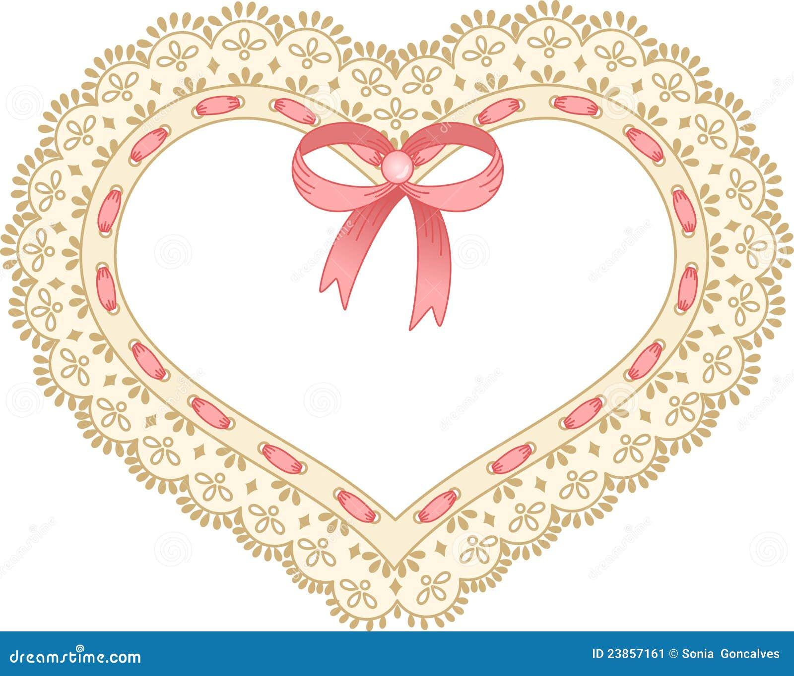 Corazón Bordado En Cordón De La Cinta Ilustración del Vector ...