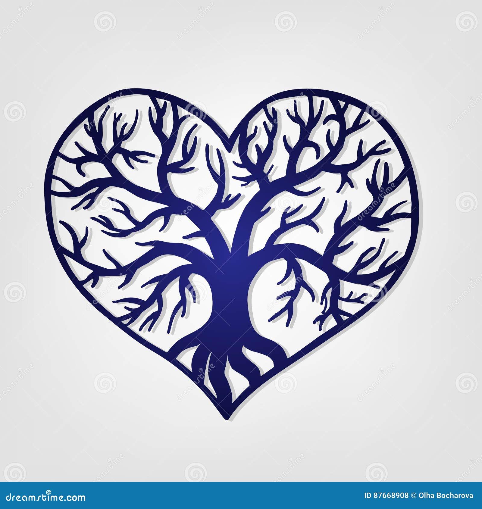 Corazón a cielo abierto con un árbol dentro Plantilla de corte del laser
