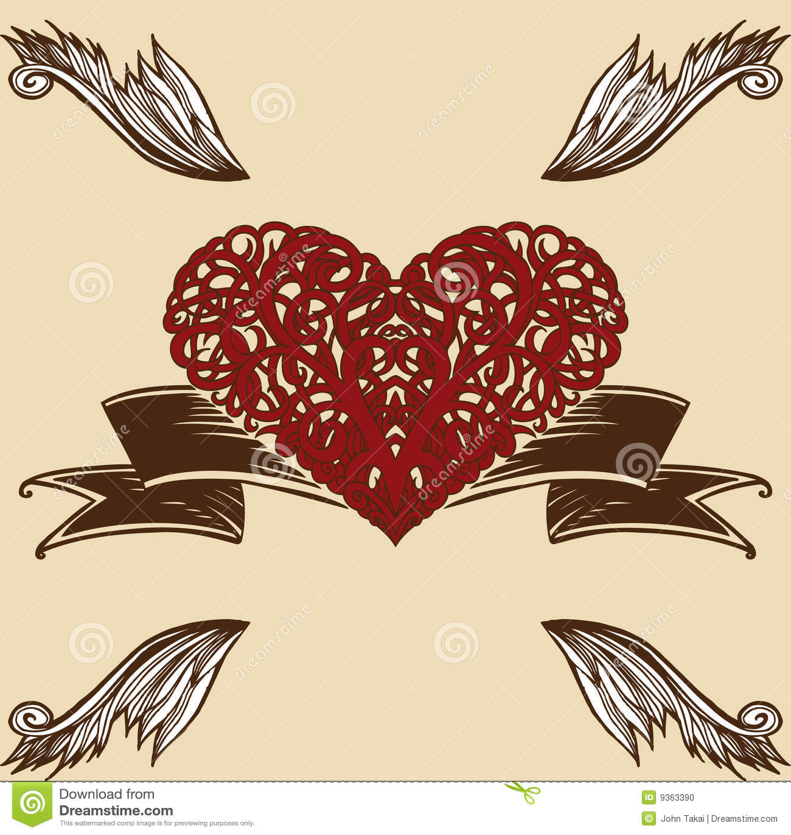Corazón Con Alas De Espinas Ilustración Del Vector Ilustración De