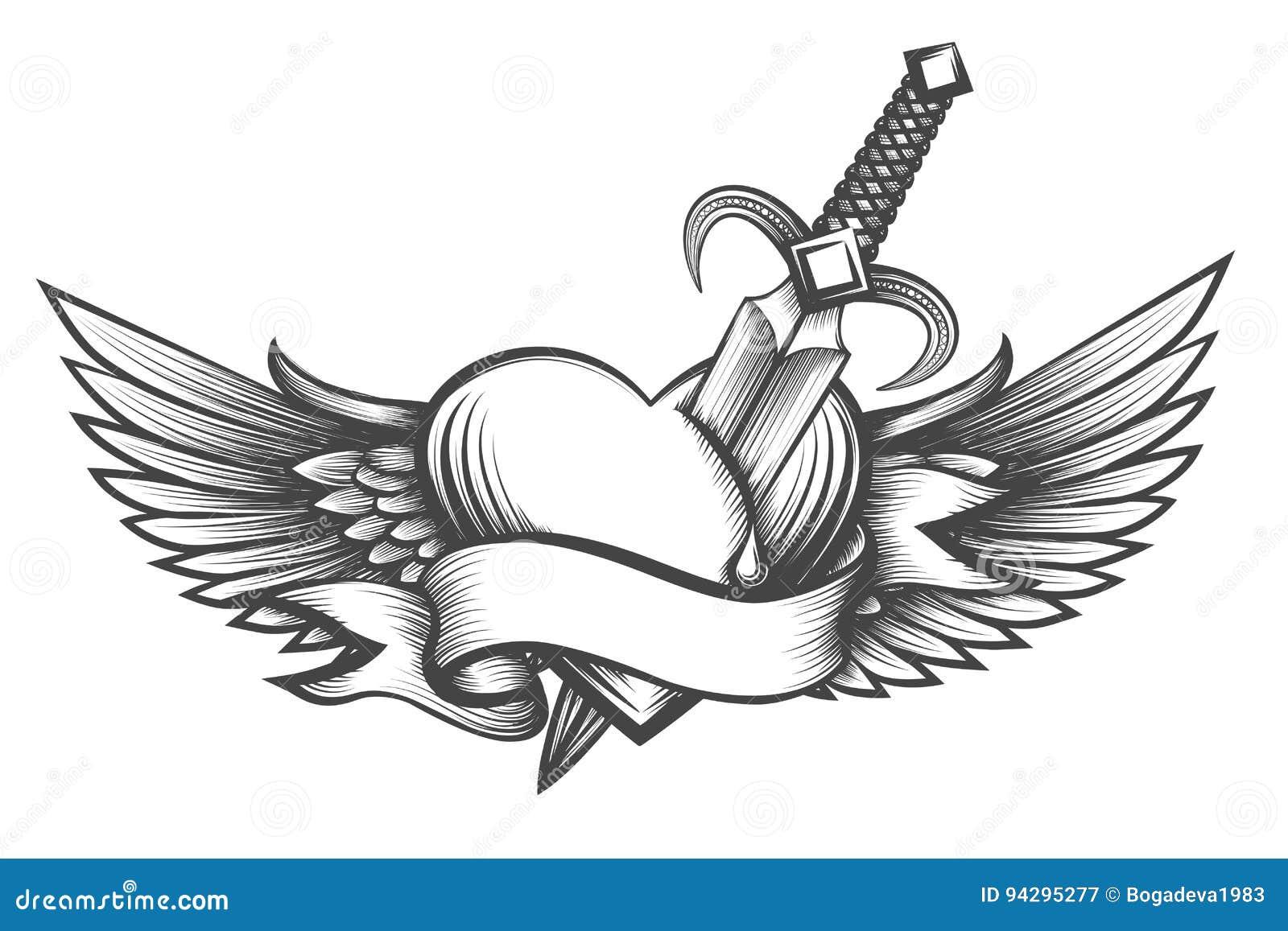 Corazón Con Alas Perforado Por La Daga Dibujada En Estilo Del