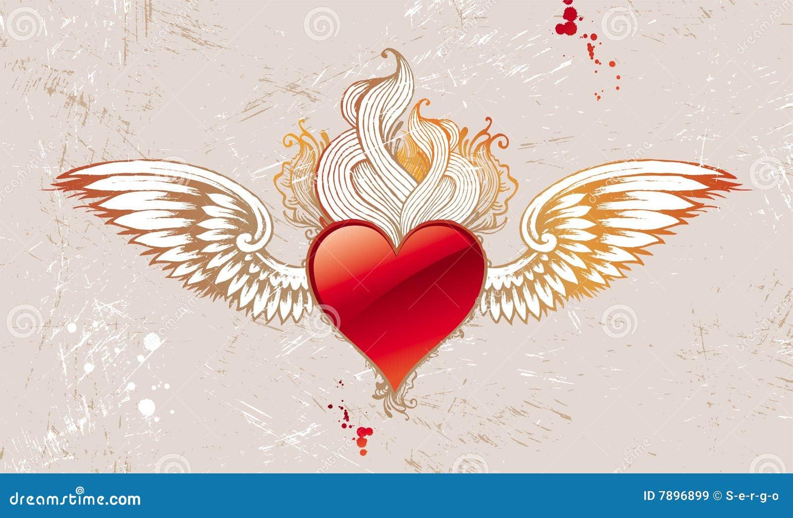Corazón Con Alas Vendimia Ilustración Del Vector Ilustración De