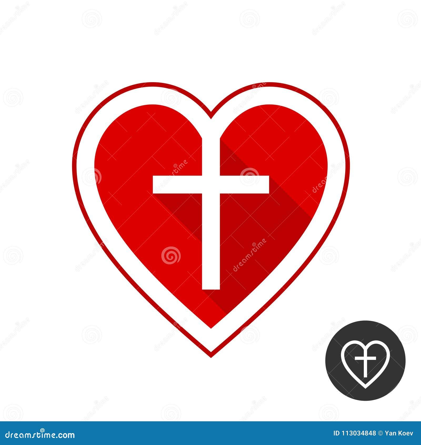 Corazón con la cruz Símbolo de la iglesia cristiana